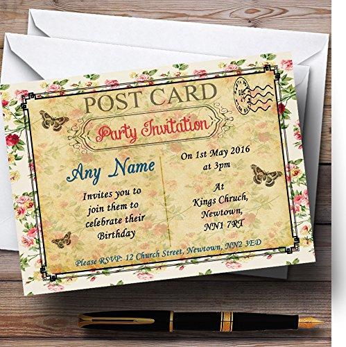 Party & Disco nodigt Vintage Floral Shabby Chic ansichtkaart Gepersonaliseerde verjaardagsfeestuitnodigingen uit met enveloppen - Elke aangepaste tekst voor elke gelegenheid 40 Cards & Envelopes