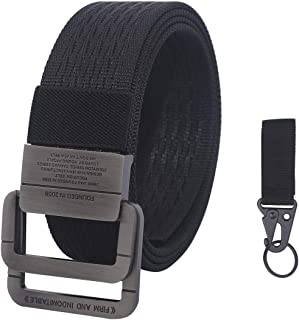 lureme Double D Ring Mens Military Nylon Belt Tactical Canvas Belt with Metal Buckle (bt000036)