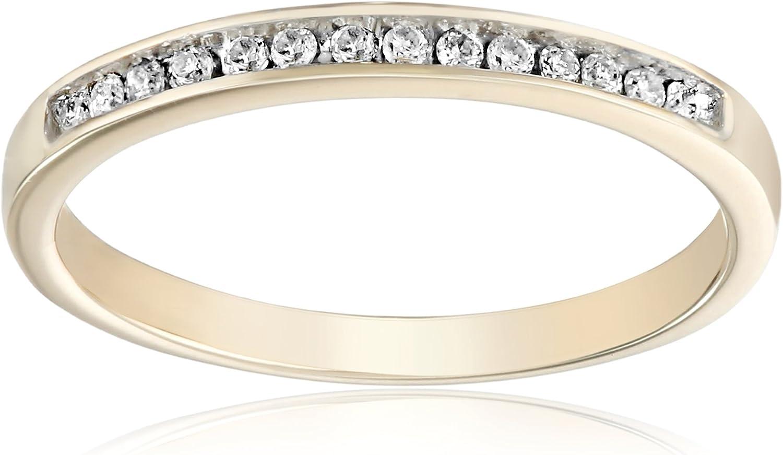 10KT Yellow Gold Round Diamond Anniversary Ring (1/10 CTTW), 6