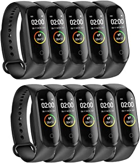 GUNM 10PCS Smart Band Fitness Tracker, Pantalla táctil a Color HD (Negro)