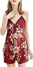 Women Two Piece V-neck Fashion Sleepwear Sets ❀ Ladies Floral Print Sleeveless Sling Lingerie Nightwear Tops Nightgown Pajamas Shorts
