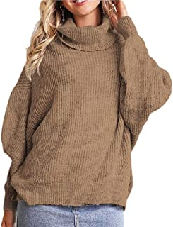 Womens Turtleneck Cable Knit Long Loose Lantern Sleeve Solid Color Warm Sweater Pullover Top