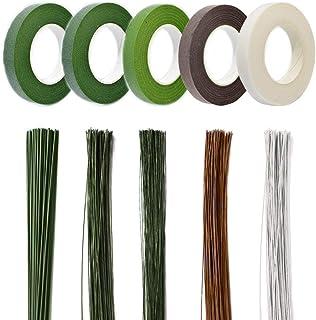 Zasiene 5 Rouleaux Fleuriste Ruban Tape Strap Wrap Ruban Floral Ruban Vert Fleuriste et 220 Pièces Fil Floral Tige Fil de ...
