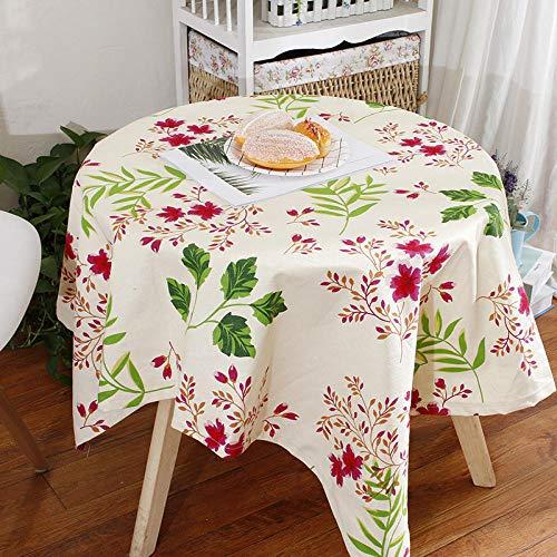 Haoxp Eenvoudige stijl, veelzijdig voor binnen en buiten stofdichte tafelkleden, Cartoon katoen tuintafel doek koffietafel afdekking handdoek cafe ronde tafelkleed - plant, 90 * 150cm
