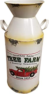 HM Seasonal Metal Farm Milk Can Home Porch Fall Christmas Decor (10 Inch, Cream Tree Farm)