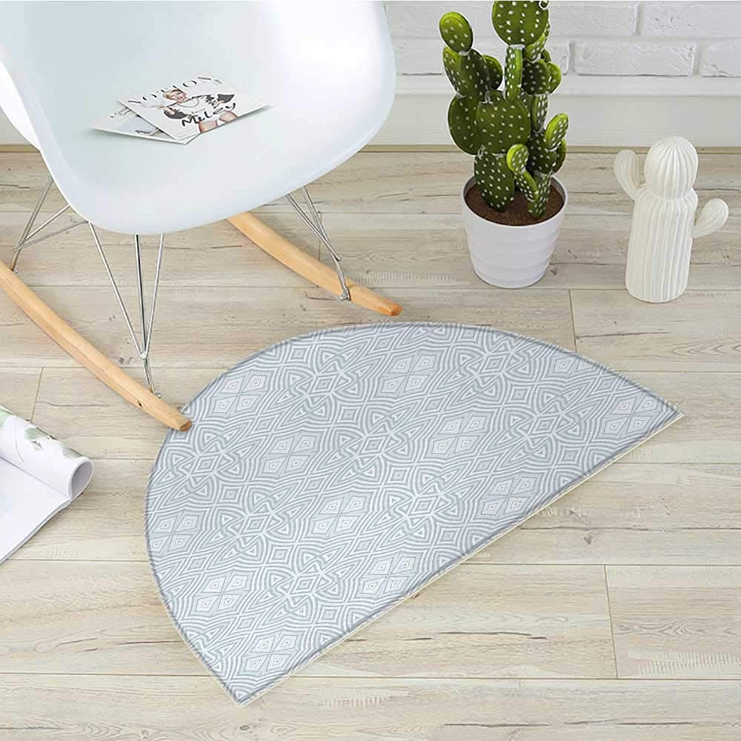 Celtic Semicircle Doormat Pale colord Square and Star Shaped Original Retro Tribal Celtic Knot Patterns Halfmoon doormats H 19.7  xD 31.5  Soft bluee Grey