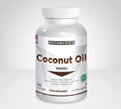 Coconut Oil 1000mg Supplement 180 Capsules Made in UK Futurevits Virgin Coconut Oil High Grade 5 Month Supply Estimated Price : £ 13,98