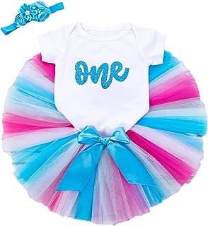 NCONCO Baby flickor 1:a födelsedagen outfit sparkdräkt tutu klänning + pannband 2 st kläder set för 6–18 månader