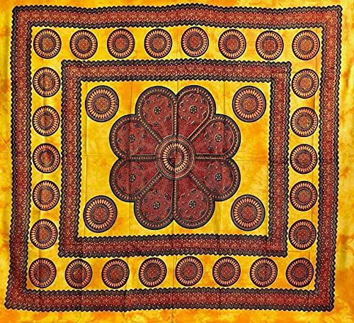 Telo Arredo Copritutto Grande Poseidon 220x240cm 100% Cotone Copri divano Gran foulard Batik Indiano (Giallo)