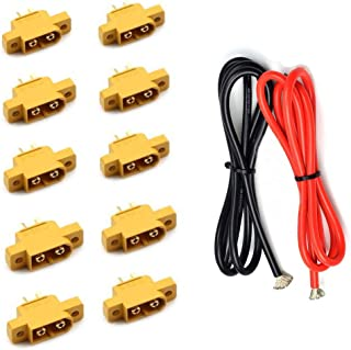 Amass XT60E-M Connector and 12awg Cable,10Pcs Male XT60E Plug and 2M 12awg Red Black Cable for Electric Scooter, Motor Waterproof Joint XT60E for Scooter Battery,Controler,Charger