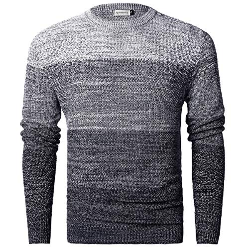 MOCOTONO Men's Gradient Faded Knitted Pullover Crew Neck Sweater White Navy X-Large