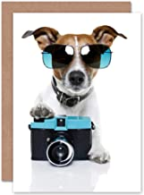 Wee Blue Coo NEW COOL JACK RUSSELL DOG CAMERA PHOTO SUNGLASSES BLANK BIRTHDAY CARD CP019
