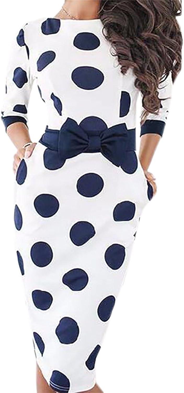 Elegant Ladies Midi Dress Plus Size Polka Dot Vintage Women Summer Casual Bodycon Sexy Party Dresses Female Bow,White Blue,M