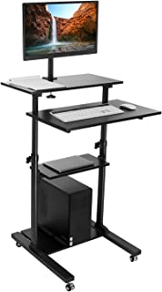 Mount-It Mobile Stand Up Desk / Height Adjustable Computer Work Station Rolling Presentation Cart With Monitor Arm (MI-7942B), Black
