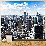 Tela de fondo nocturno de la ciudad de Nueva York Tapiz de arte para el hogar Tapiz decorativo bohemio Hippie Sofá Manta Tapecloth A2 150x200cm