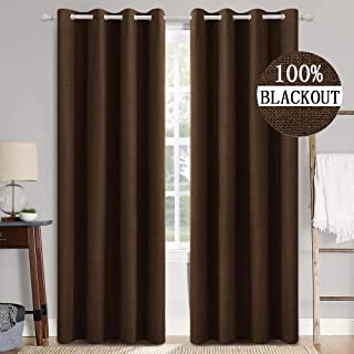 MIULEE Linen Texture Curtains Soild 100% Blackout Thermal Insulated Curtains Grommet Curtains/Draperies for Living Room Be...
