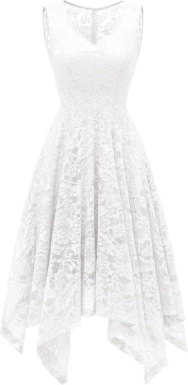 Meetjen Women's Elegant Floral Lace Sleeveless Handkerchief Hem Asymmetrical Cocktail Party Swing Dress
