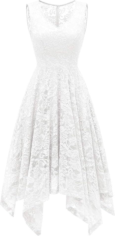 Meetjen Damen A Linie Elegant Kleid Knielang Sommerkleid Festlich Rockabilly Hochzeit Spitzenkleid Amazon De Bekleidung