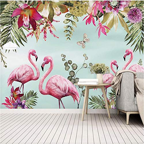 Fotobehang Fotobehang Thuis Aangepaste muurschildering Nordic Ins Bloemen Vogels Flamingo Kinderen Kamer Woonkamer Slaapbank TV Achtergrond Muur Decoratieve Schilderij Behang
