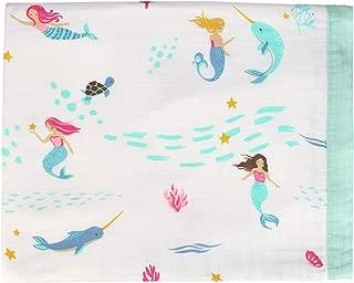 Little Jump Mermaid & Narwhal Baby Blanket - Bamboo Toddler Blanket for Girls - Oversized 47
