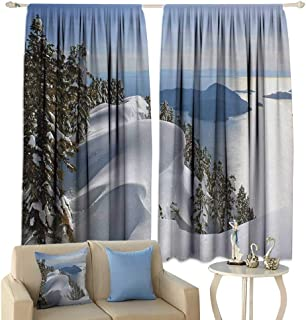 HoBeauty Winter, Waterproof Window Curtain, Pacific Ocean Meets The Mountains Vancouver British Columbia Canada, Decorative Curtains for Living Room,(W72 x L63 Inch, White Olive Green Blue