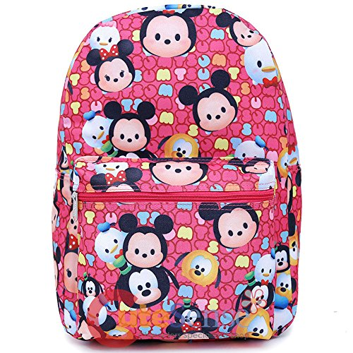 Disney Tsum Tsum School Backpack 16in All Over Print Large Book Bag Pink