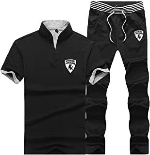 Mogogo Mens Short Sleeve Embroidered Thin Stand Collar Sweatsuits Tracksuits