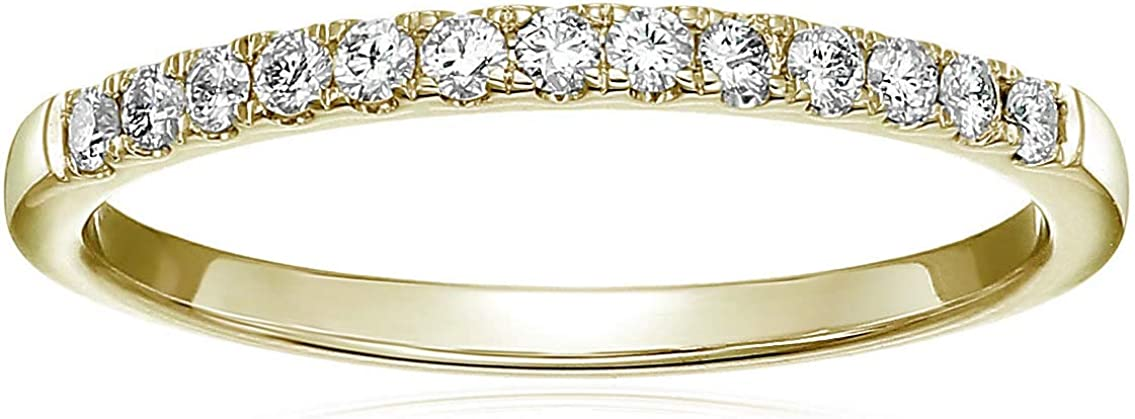 Vir Jewels 1/5 cttw Pave Diamond Wedding Band 14K Yellow Gold Bridal Ring Prong Set
