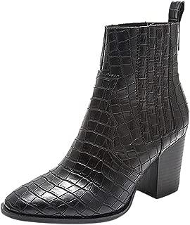 Kauneus Womens England Simple Leather Ankle Boot Crocodile Pattern Chunky Mid Heel Pointed Toe Mid Calf Boots