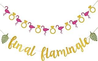 Gold Glittery Final Flamingle Banner and Glittery Flamingo Ring Garland,Luau Hawaii Tropical Party Bachelorette Wedding Pa...