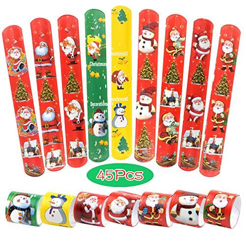 TUPARKA 45 PCS Braccialetti di Schiaffo Natalizio Slap Wrist Bands con Babbo Natale Pupazzo di Neve Modelli di Albero di Natale per Bambini Festa di Natale Borsa Borsa Goodie Bag Little Toys (45 PCS)
