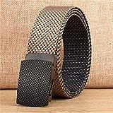 JWJY 男性のストラップCasualstyle男性のための良質のキャンバスの高級ニットナイロンベルト自動バックルベルト軍の戦術的なデザイン (Belt Length : 120CM, Color : Khaki black double s)