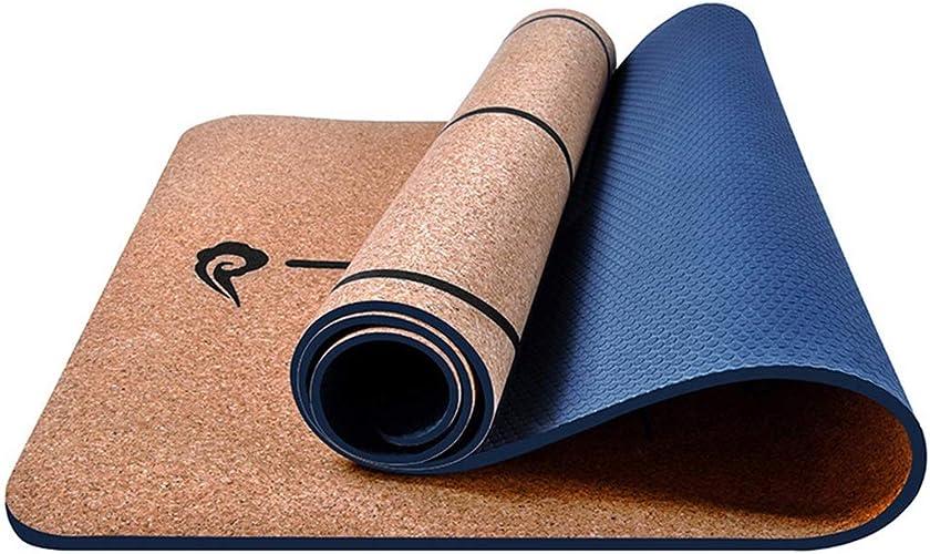 Xasclnis Tapis Savoureux de Gymnastique Favorable à l'environnement de liège 5mm de Yoga pour la Famille de Gymnase (Couleur   Khaki A)