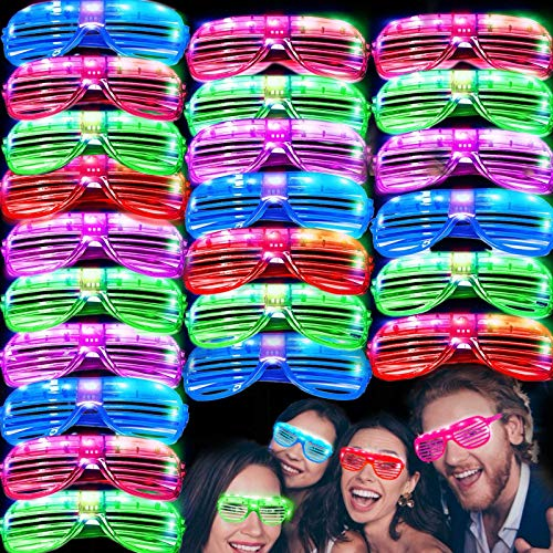 iGeeKid 50 Pack LED Glasses Light Up Party Glasses Glow in The Dark Party Supplies Shutter Shades...