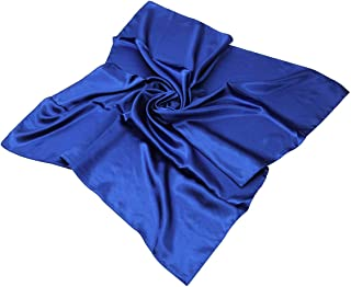 Elegant Large Silk Feel Solid Color Satin Square Scarf Wrap, 36 inch