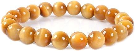 J.Fée Perles Bracelet Élastique Bracelet Pierre d'oeil de Tigre dorée Bracelet d'aromathérapie Bracelet 8mm Semi Précieuse Bracelet Guérison Gemstone Bracelet Cadeau de fête des mères pour Femmes