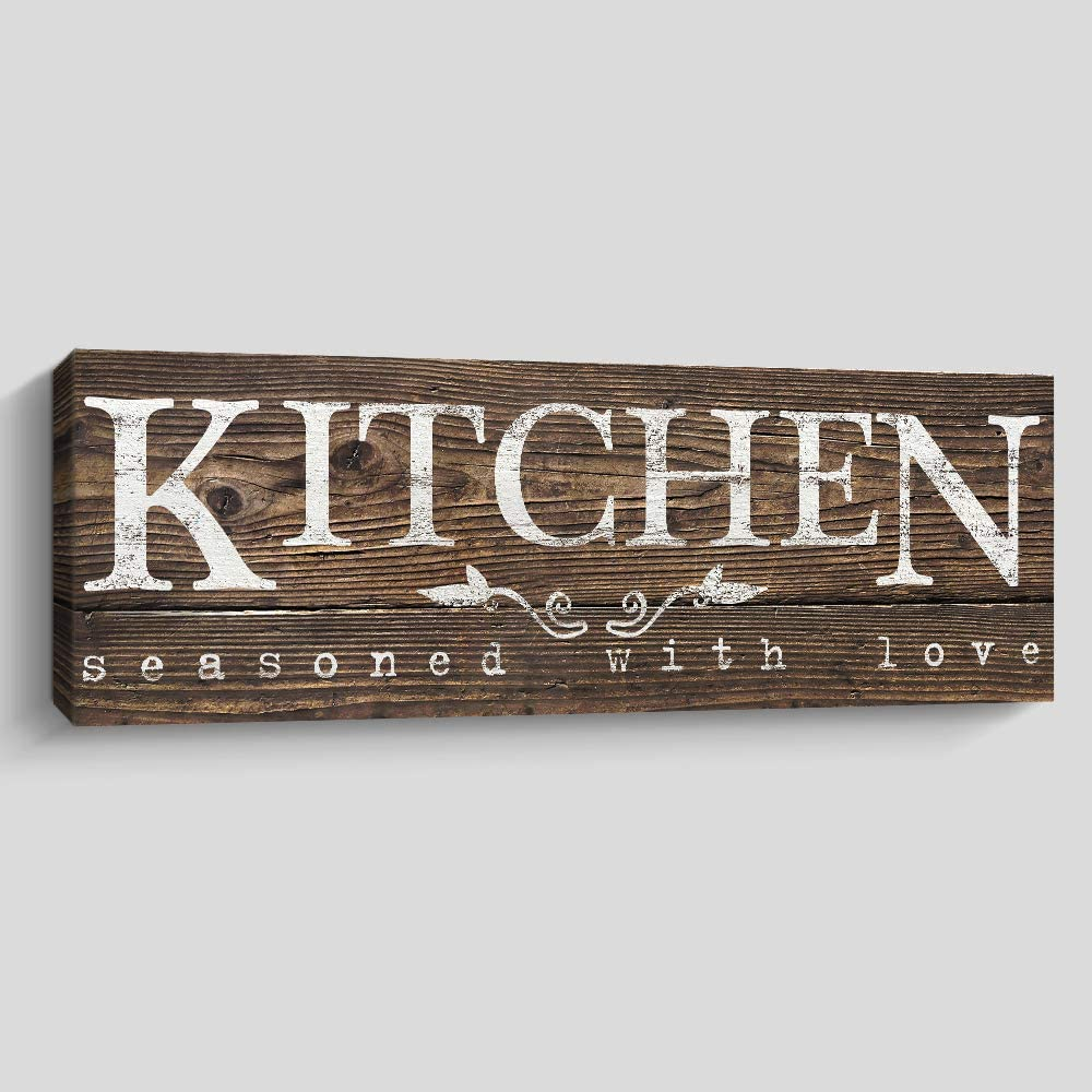 Rustic Kitchen Wall Decor, Farmhouse Wall Art, Kitchen Sign Home Decorations (Kitchen, Brown)