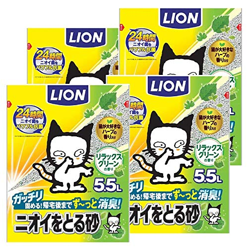 (Amazon.co.jp Exclusive) Odor-Absorbing Sand, Cat Sand, Relaxed Green Scent, 1.9 fl oz (5.5 L) x 4 Bags (Sold by Case)