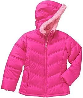 Faded Glory Girls' Full-Zip Hooded Bubble Puffer Jacket Coat
