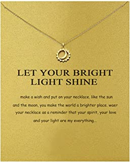 Yuanhua Women Necklaces Sterling Silver Moon and Star Pendant Gold Plated Necklace Jewellery for Ladies Girls