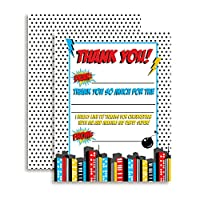 "Super HeroテーマThank You Notes for Boys、10個4 "" x 5.5 ""塗りつぶし空白のカードwith 10ホワイト封筒by amandacreation誕生日"