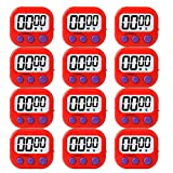 LinkDm 12 Pack Red Small Digital Kitchen Timer Magnetic Back and ON/Off Switch,Minute Second Count Up...