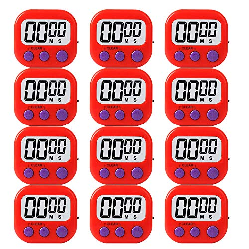 LinkDm 12 Pack Red Small Digital Kitchen Timer Magnetic Back and ON/Off Switch,Minute Second Count Up Countdown