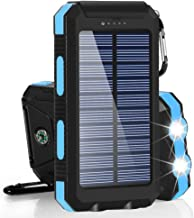 Solar Charger, BESWILL 10000MAH Solar Phone Charger Waterproof External Battery Pack Dual USB Solar Power Bank with 2 Flashlights Carabiner and Compass Compatible with iPhone and Other Smart Devices
