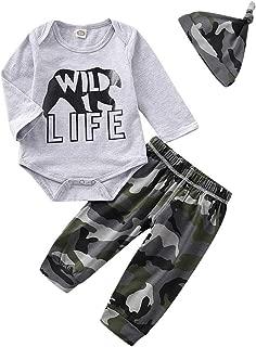 Newborn Baby Boy Clothes Set Cotton Long Sleeve Letter Print Romper Tops + Camouflage Pants + Hat 3pcs Infant Outfits Set
