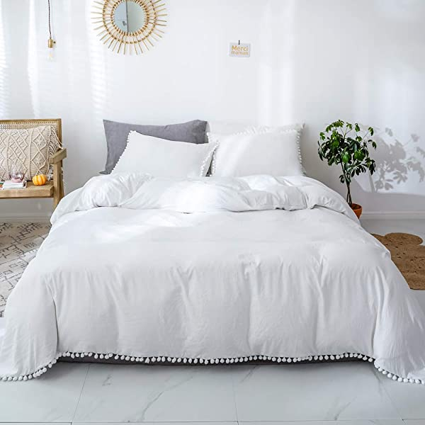 Smoofy Bedding Duvet Cover Set Ball Pom Fringe Bedding Pillowcase Sets Queen White