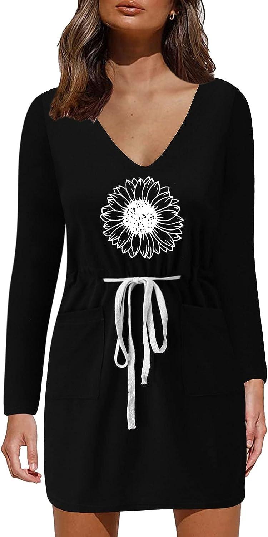 LODDD Women's Long Sleeves V-Neck Prints Waist Drawstring Pockets Autumn Casual Mini Dress