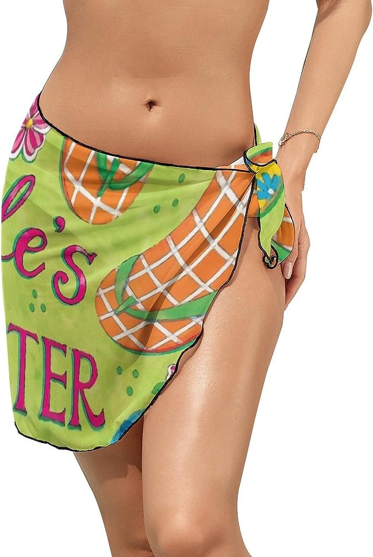JINJUELS Women Beach Wrap Sarong Cover Up Summer Beach Slipper Sexy Short Sheer Bikini Wraps