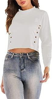 Tinyshine Womens Fashion Long Sleeve Button Top Cropped Tee T-Shirts
