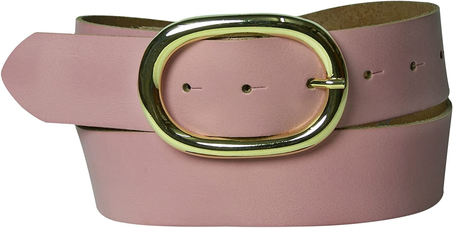 FRONHOFER Inexpensive classic belt   Oval gold buckle   Real cowhide leather belt, Size waist size 35.5 IN L EU 90 cm, color Old pink